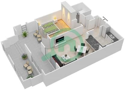 المخططات الطابقية لتصميم التصميم 14 شقة 1 غرفة نوم - تانارو