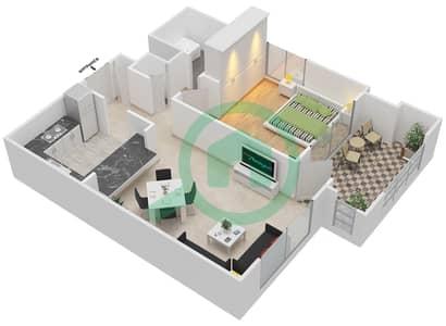 المخططات الطابقية لتصميم التصميم 13 شقة 1 غرفة نوم - تانارو