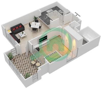المخططات الطابقية لتصميم التصميم 12 شقة 1 غرفة نوم - تانارو