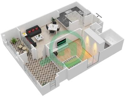 المخططات الطابقية لتصميم التصميم 11 شقة 1 غرفة نوم - تانارو