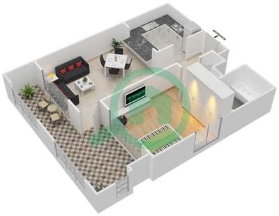 المخططات الطابقية لتصميم التصميم 10 شقة 1 غرفة نوم - تانارو