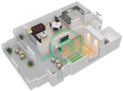المخططات الطابقية لتصميم التصميم 9 شقة 1 غرفة نوم - تانارو