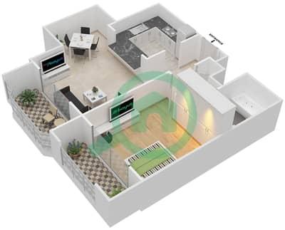 المخططات الطابقية لتصميم التصميم 8 شقة 1 غرفة نوم - تانارو