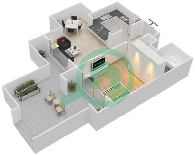 المخططات الطابقية لتصميم التصميم 7 شقة 1 غرفة نوم - تانارو
