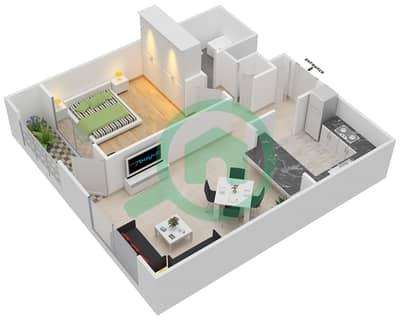 المخططات الطابقية لتصميم التصميم 6 شقة 1 غرفة نوم - تانارو