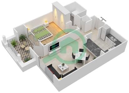 المخططات الطابقية لتصميم التصميم 5 شقة 1 غرفة نوم - تانارو