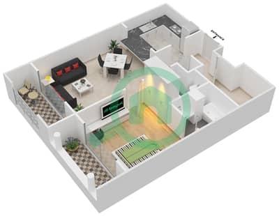 المخططات الطابقية لتصميم التصميم 4 شقة 1 غرفة نوم - تانارو