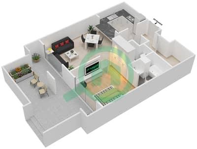 المخططات الطابقية لتصميم التصميم 3 شقة 1 غرفة نوم - تانارو
