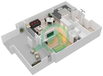 المخططات الطابقية لتصميم التصميم 2 شقة 1 غرفة نوم - تانارو