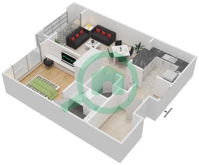 المخططات الطابقية لتصميم التصميم 1 شقة 1 غرفة نوم - تانارو