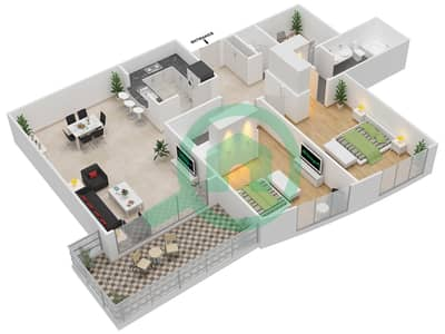 The Links West Tower - 2 Bedroom Apartment Type B Floor plan