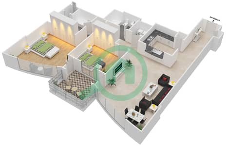 The Links West Tower - 2 Bedroom Apartment Type A Floor plan