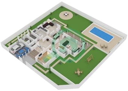 المخططات الطابقية لتصميم النموذج B فیلا 5 غرف نوم - نسيم