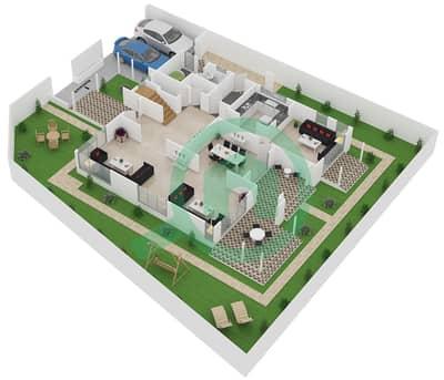 المخططات الطابقية لتصميم النموذج A فیلا 3 غرف نوم - نسيم
