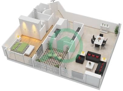 المخططات الطابقية لتصميم النموذج B شقة 1 غرفة نوم - مرتفعات ليوا
