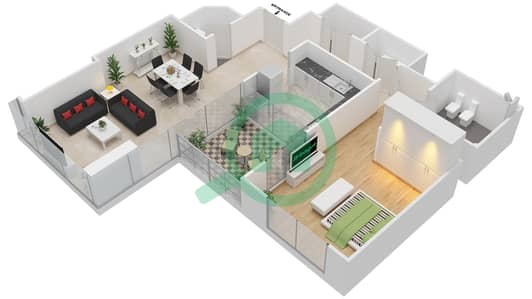 المخططات الطابقية لتصميم النموذج C شقة 1 غرفة نوم - مرتفعات ليوا