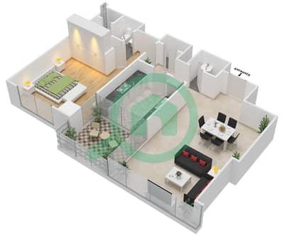المخططات الطابقية لتصميم النموذج A شقة 1 غرفة نوم - مرتفعات ليوا