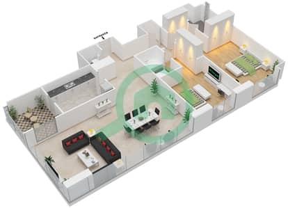 المخططات الطابقية لتصميم النموذج A شقة 2 غرفة نوم - مرتفعات ليوا