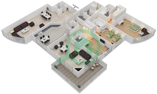 المخططات الطابقية لتصميم النموذج 4 شقة 3 غرف نوم - أبراج السيف