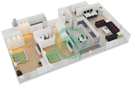 المخططات الطابقية لتصميم النموذج B شقة 2 غرفة نوم - أبراج السيف