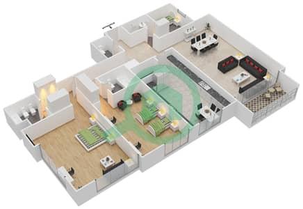 المخططات الطابقية لتصميم النموذج 3 شقة 2 غرفة نوم - أبراج السيف