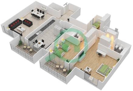 المخططات الطابقية لتصميم النموذج 2 شقة 2 غرفة نوم - أبراج السيف