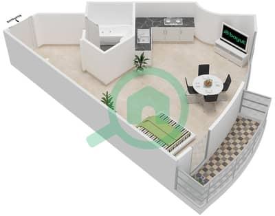 المخططات الطابقية لتصميم النموذج 1B شقة  - برج الصقران
