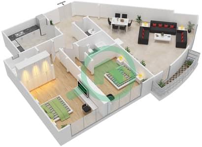 المخططات الطابقية لتصميم النموذج 2C شقة 2 غرفة نوم - برج الصقران