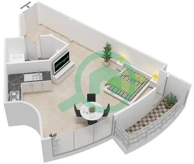 المخططات الطابقية لتصميم النموذج 1D شقة  - برج الصقران