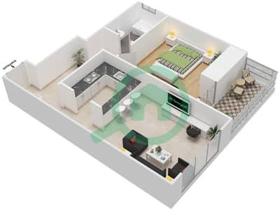 المخططات الطابقية لتصميم النموذج 4C شقة 1 غرفة نوم - برج الصقران