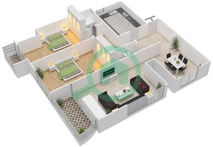 المخططات الطابقية لتصميم النموذج 4D شقة 2 غرفة نوم - برج الصقران