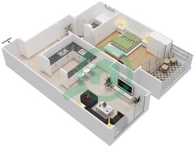 المخططات الطابقية لتصميم النموذج 1C شقة 1 غرفة نوم - برج الصقران