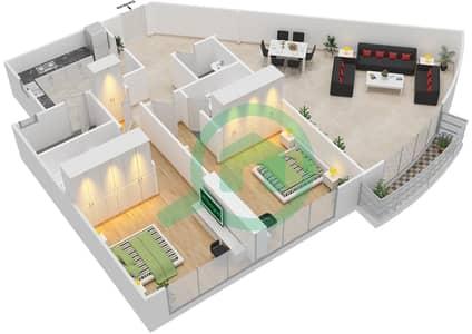 المخططات الطابقية لتصميم النموذج 1E شقة 2 غرفة نوم - برج الصقران