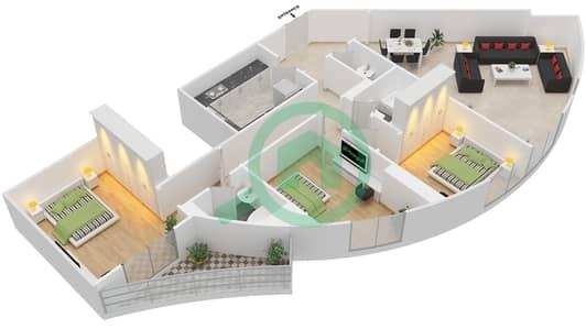 المخططات الطابقية لتصميم النموذج 1A شقة 3 غرف نوم - برج الصقران