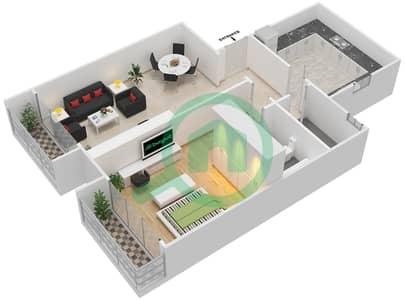 المخططات الطابقية لتصميم النموذج 5A شقة 1 غرفة نوم - برج الصقران