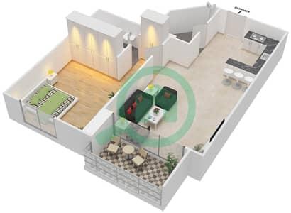 المخططات الطابقية لتصميم النموذج 3C شقة 1 غرفة نوم - برج الصقران