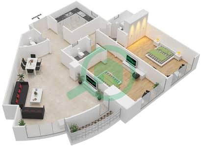 المخططات الطابقية لتصميم النموذج 3A شقة 2 غرفة نوم - برج الصقران