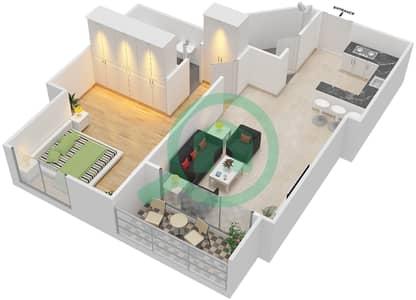 المخططات الطابقية لتصميم النموذج 2A شقة 1 غرفة نوم - برج الصقران