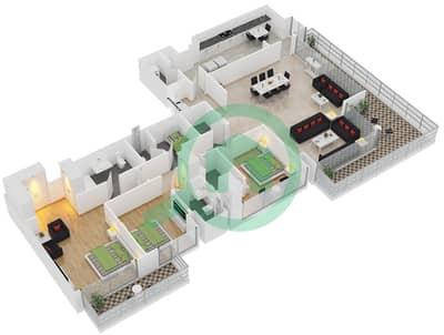 المخططات الطابقية لتصميم النموذج B1 شقة 3 غرف نوم - برج آي غو 101