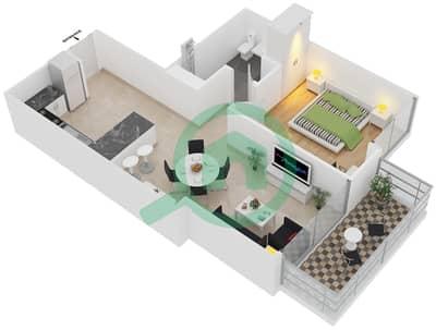 المخططات الطابقية لتصميم النموذج D شقة 1 غرفة نوم - برج آي غو 101