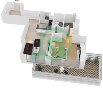المخططات الطابقية لتصميم النموذج C شقة 1 غرفة نوم - برج آي غو 101