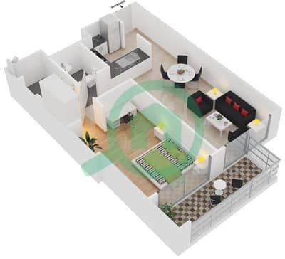 المخططات الطابقية لتصميم النموذج B شقة 1 غرفة نوم - برج آي غو 101