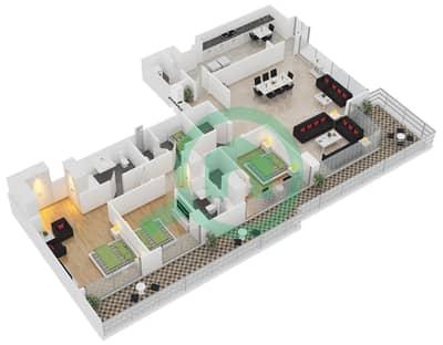 المخططات الطابقية لتصميم النموذج B شقة 3 غرف نوم - برج آي غو 101