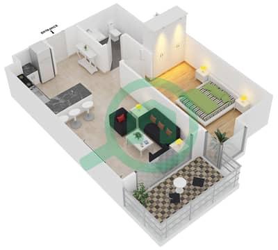 المخططات الطابقية لتصميم النموذج A شقة 1 غرفة نوم - برج آي غو 101
