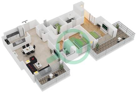 المخططات الطابقية لتصميم النموذج A شقة 2 غرفة نوم - برج آي غو 101