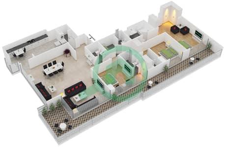 المخططات الطابقية لتصميم النموذج A شقة 3 غرف نوم - برج آي غو 101