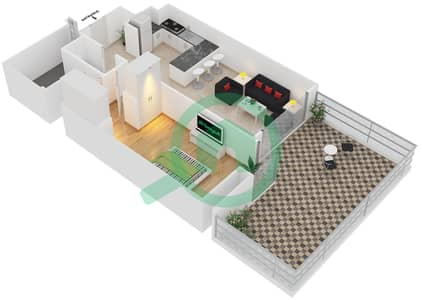 المخططات الطابقية لتصميم النموذج A3 شقة 1 غرفة نوم - برج آي غو 101
