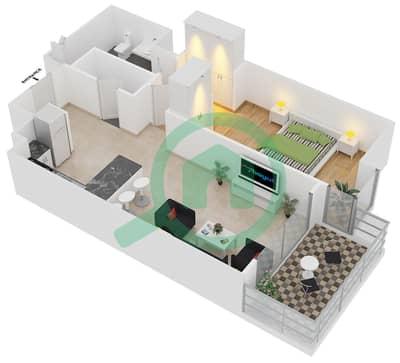 المخططات الطابقية لتصميم النموذج A2 شقة 1 غرفة نوم - برج آي غو 101
