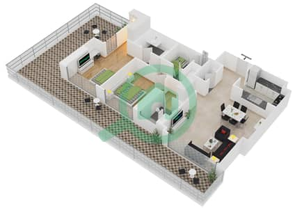 المخططات الطابقية لتصميم النموذج A2 شقة 2 غرفة نوم - برج آي غو 101