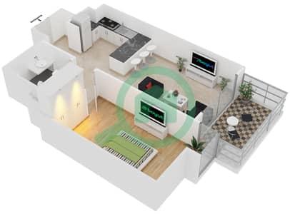 المخططات الطابقية لتصميم النموذج A1 شقة 1 غرفة نوم - برج آي غو 101